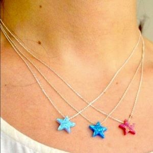 Jewelry - Blue Opal Star Necklace On Sterling Silver Chain